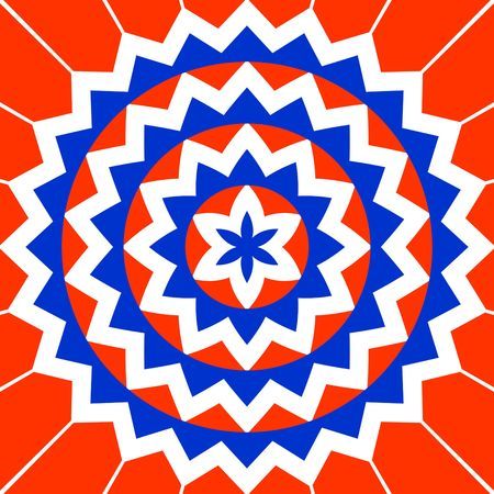 tantra: simple blue, red and white flower pattern as a symbol Stock Photo