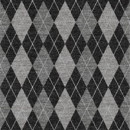seamless texture of knitted wool gingham squares in grey