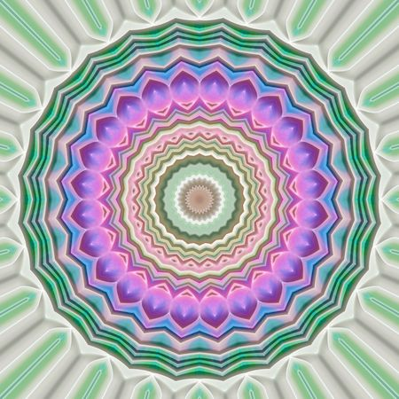 flower like mandala symbol in soft pink and green colors Stock Photo
