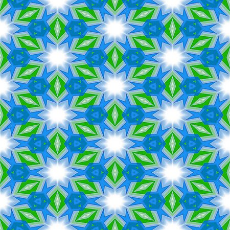 abstracted: seamless abstracted texture with white stars and green leaves on blue