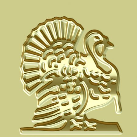 imprinted: 3d texture of an abstracted imprinted metallic turkey illustration