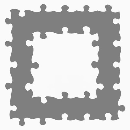 monochrome texture of puzzle pieces in a square frame  Stock Photo