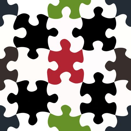 seamless texture of black and white and some colored puzzle pieces photo