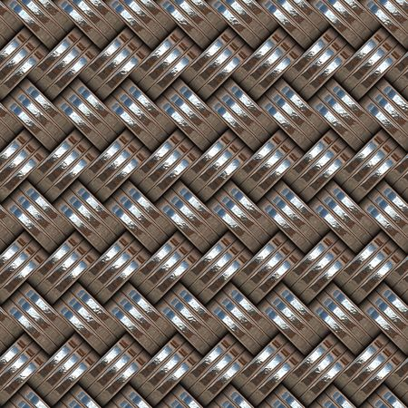 seamless texture of intertwined groups of three metal rings Stock Photo