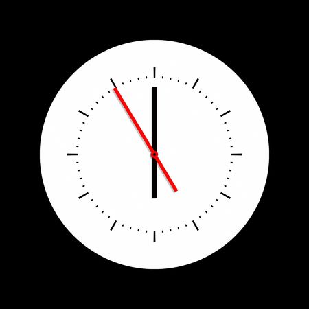 simple clock with red hand at nearly twelve photo