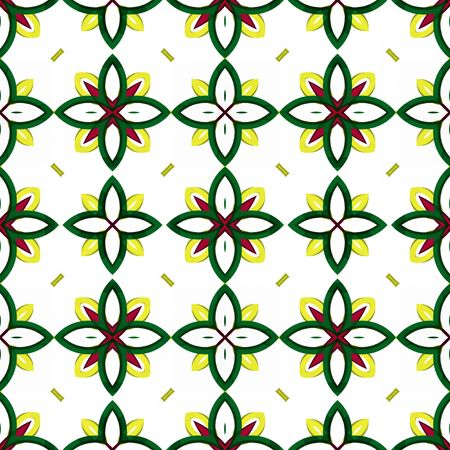 seamless texture with simplified flower shapes on white