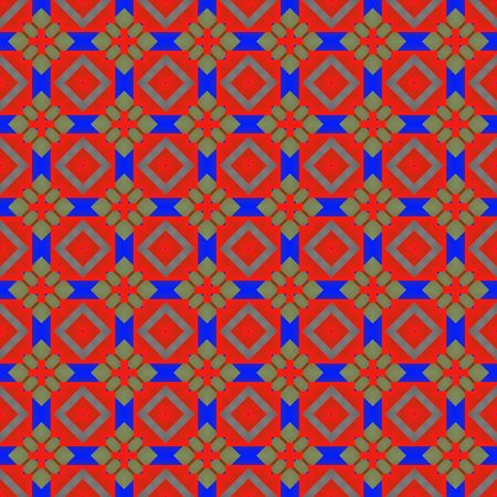 seamless texture of repeating bright blue and red mystic shapes Stock Photo