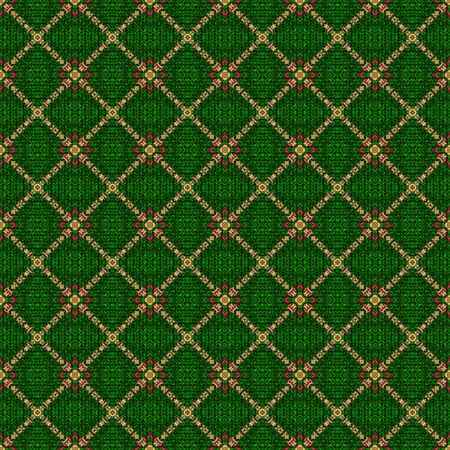 scottish culture: seamless texture of woven cotton with ornamental shapes