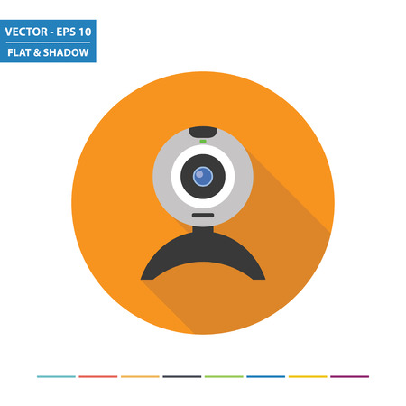 Web camera flat icon with long shadow. Vector Illustration.