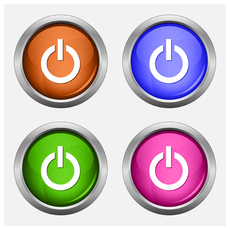 turn on: Set of isolated turn on, off glossy vector web buttons. Beautiful internet buttons.