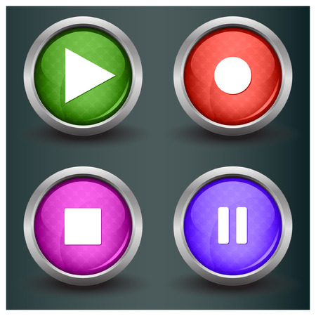 rec: Set of isolated glossy vector web buttons. Beautiful internet buttons. Play, pause, start, record. Illustration
