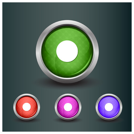 rec: Set of isolated rec, record glossy vector web buttons. Beautiful internet buttons.