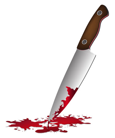 blade cut: realistic bloody knife. Knife with blood vector illustration.