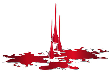 Vector puddle of blood with drops isolated on white background. Red plash of blood Vettoriali