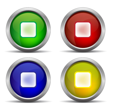 rouge et bleu: stop color  glossy web button, beautiful Internet button set. green, yellow, red, blue