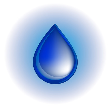Blue realistic vector water drop on white and blue background. Illustration