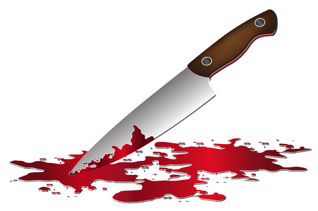 Coltello con l'illustrazione del sangue. Archivio Fotografico - 44320275
