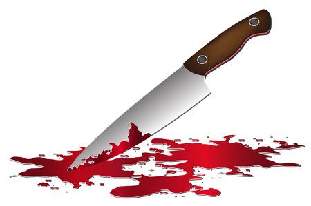 knife: Knife with blood illustration. Illustration
