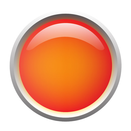 glass button: Orange isolated glossy web button