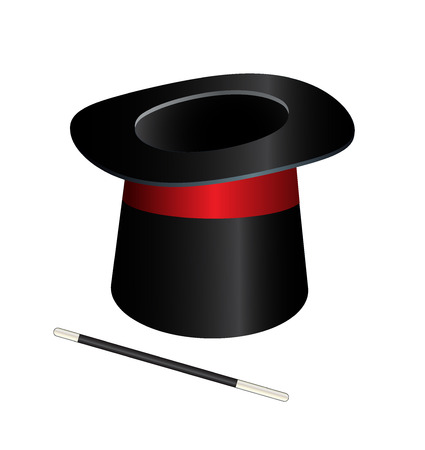 Vector magic hat cylinder with wand