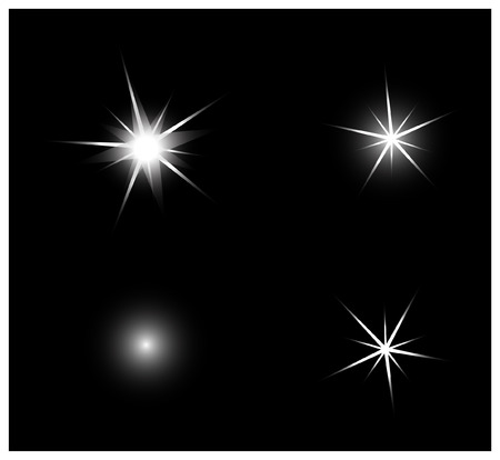 glowing star: Set of Vector sparkling and glowing light effect stars on black background.