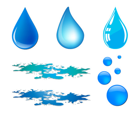 rain cartoon: Blue vector waterdrop and puddle set isolated on white background Illustration