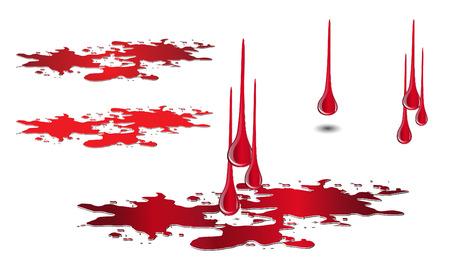 滴り落ちる血と水たまりセット白で隔離。血ドロップ ベクトル