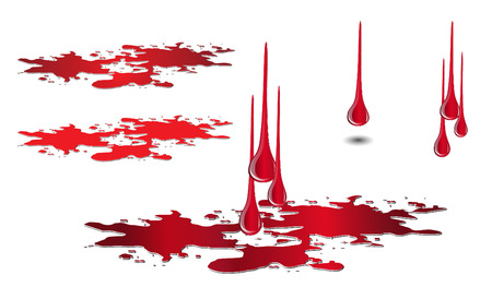 Dripping blood and puddle set isolated on white. Blood drop vector