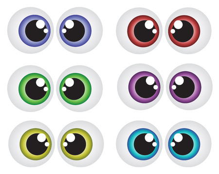 cartoon faces: Vector cartoon eyes set isolated on white background