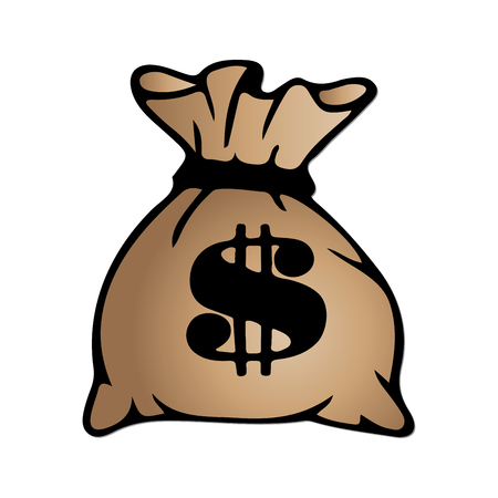 dollar sign icon: Brown money bag icon with dollar sign isolated on white background. Vector illustration.