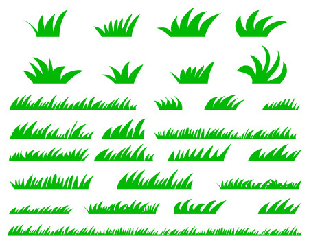 Green Grass Set, Isolated On White Background, Vector Illustration