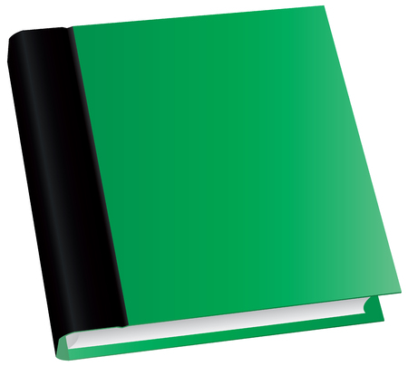 Illustration of classic green book in front view isolated on white background.