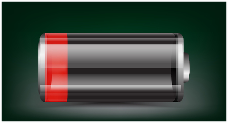Vector transparent battery illustration. Low charged red battery on dark background