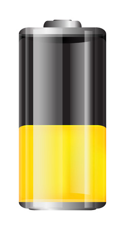 Vector transparent battery illustration. Half charged yellow battery isolated on white background