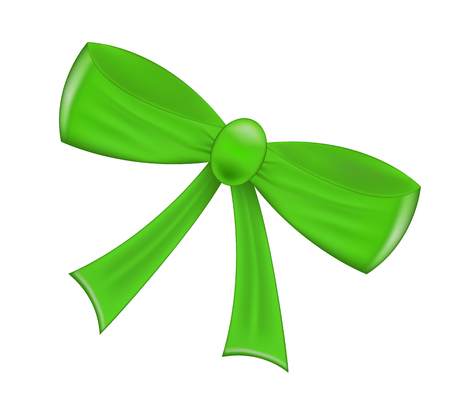 green ribbon: Green realistic  ribbon bow isolated on white background. Vector illustration