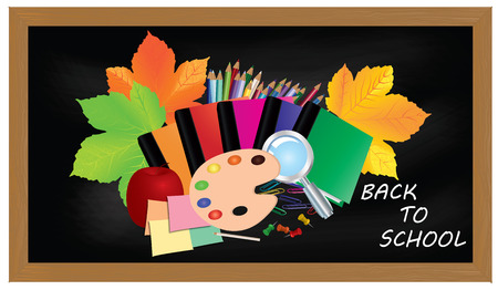 colour pencils: Back to school. Black desk with school supplies and autumn leaves.