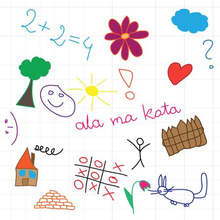 multicolored: children drawing multicolored symbols set