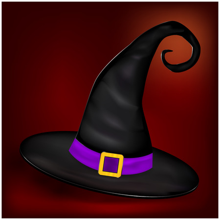 mooie achtergrond: Vector picture of Halloween realistic witches hat. Illustration on nice background