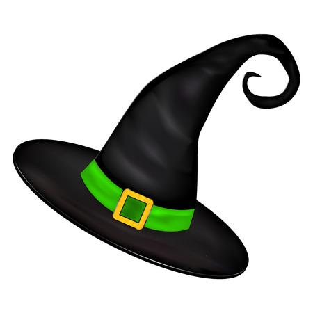 bruja: Vector de imagen de Halloween del sombrero de las brujas realistas. Ilustración aislada en el fondo blanco Vectores