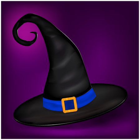 nice background: Vector picture of Halloween realistic witches hat. Illustration on nice background