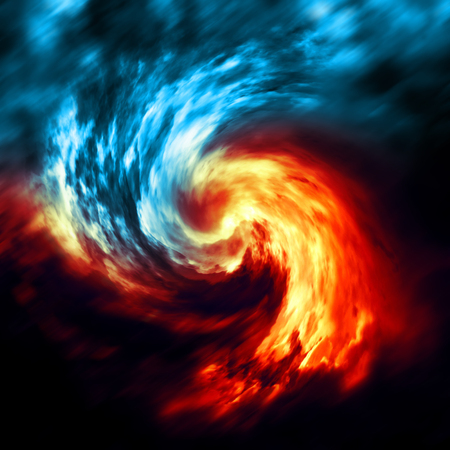 orange swirl: Fire and ice abstract  background. Red and blue smoke swirl on dark background Stock Photo