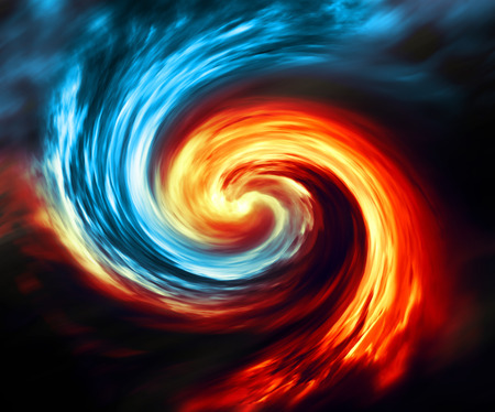 abstract fire: Fire and ice abstract  background. Red and blue smoke swirl on dark background Stock Photo