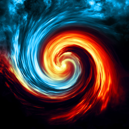 Fire and ice abstract  background. Red and blue smoke swirl on dark background Standard-Bild