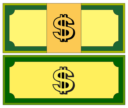 banknote: Cartoon money, dollar banknote, paper bill. Vector illustration isolated on white background Illustration