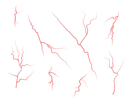 Set of human eye veins, red blood vessels, blood system.  Vector illustration isolated on white background