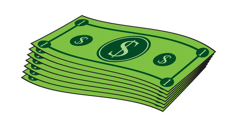 Cartoon money, dollar banknote, paper bill. Vector illustration isolated on white background Illustration