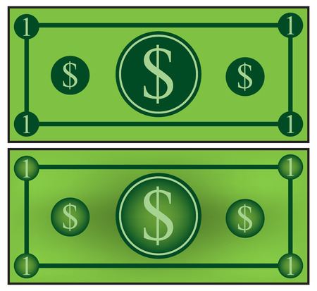 paper currency: Cartoon money, dollar banknote, paper bill. Vector illustration isolated on white background Illustration