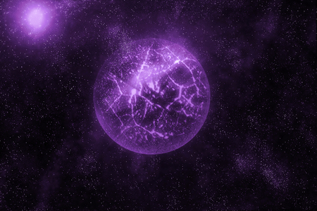 computer crash: Image of crashing, exploding planet  in deep space, universe with star field background. Computer generated abstract background.