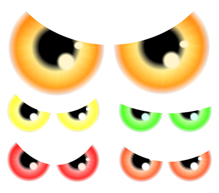 spooky eyes: Set of Happy Halloween spooky, scary eyes, eyeballs, iris, pupil.  Vector illustration isolated on white background. Illustration