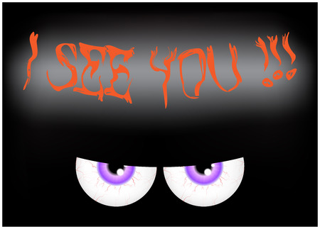 spooky eyes: Image of Happy Halloween spooky background Flat design. Vector illustration of invitation card with scary bloody eyes, eyeballs with sign I see you
